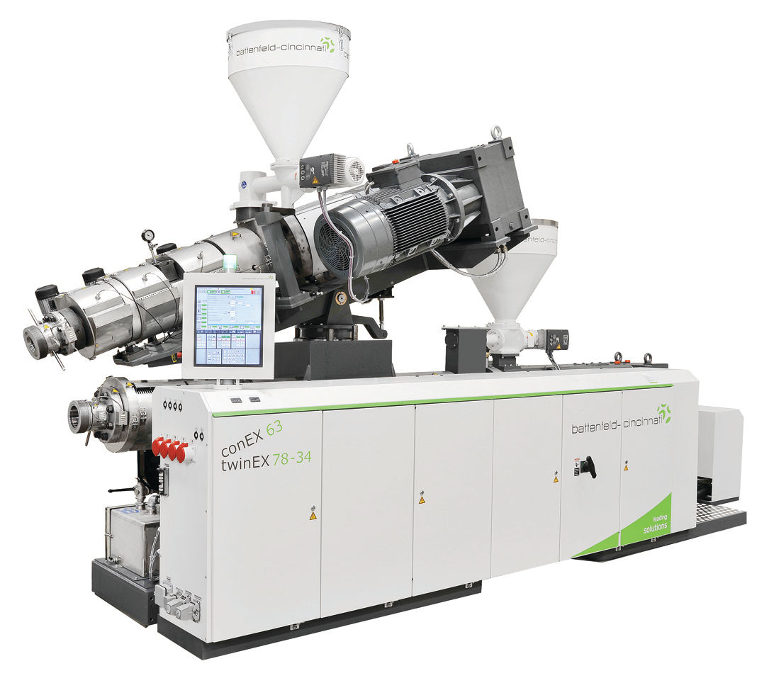 """The space-saving """"piggyback"""" configuration with twinEX and conEX twin-screw extruders was presented for the first time at the K 2013. photo: battenfeld-cincinnati"""