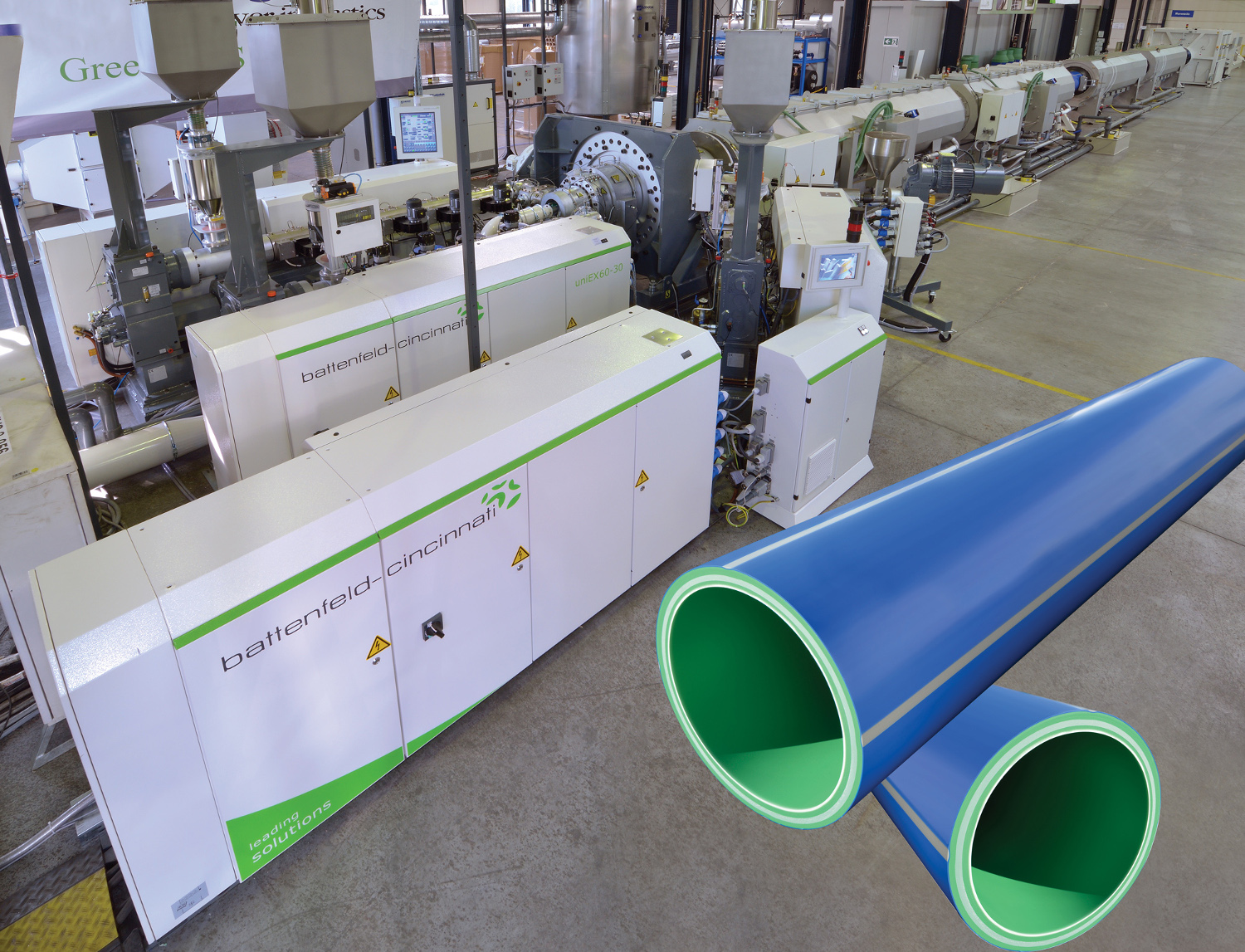 High performance line for quadruple uPVC pipe extrusion with a twinEX 114-28R extruder photo: battenfeld-cincinnati