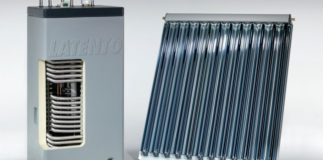 The IVT solar heating system Latento made of high-insulation solar layer storage units for pressure-less operation and CPC vacuum tube collectors provide high solar yields all year round. (photo: IVT)