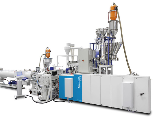 KraussMaffei Berstorff direct extrusion line featuring the KMG 81-40/R corotating twin-screw extruder (Photo: KraussMaffei Berstorff)