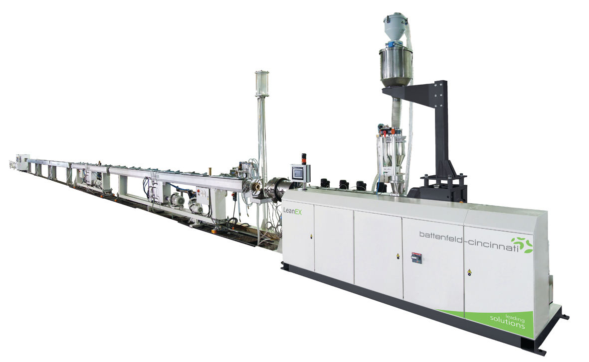 The LeanEX high-speed polyolefin pipe extrusion line offers complete, turnkey extrusion systems for standard applications photo: battenfeld-cincinnati