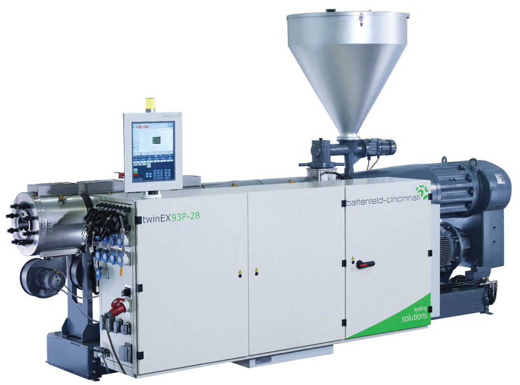 The twinEX series of parallel twin screw extruders is designed for supreme productivity in PVC profile, pipe and sheet extrusion. photo: battenfeld-cincinnati