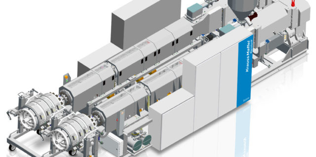 Space-saving concept with KMD 108-36 E2/R twin-screw extruder for U-PVC high-performance extrusion. Photo: KraussMaffei Berstorff