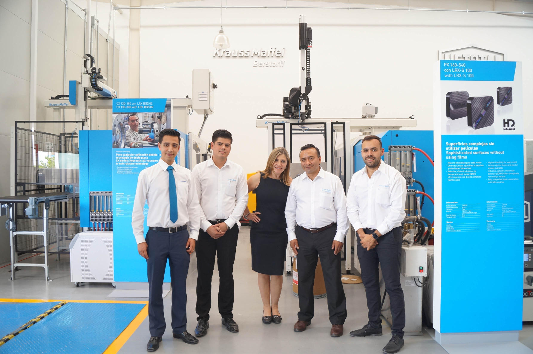 Pleased with the resounding success of the Open House: Enrique Ponton (Automation Mexico), Carlos Schimpf (Training Cordinator), Ana Claudia Menconi (Training & Marketing Manager), Jose Luis Garcia (Senior Instructor) and Felipe Reyes (Marketing), photo: KraussMaffei Berstorff