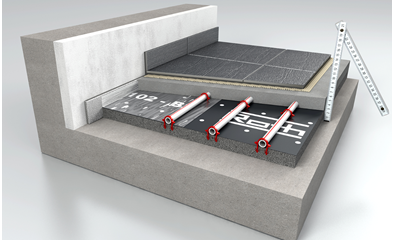 Roth is the first manufacturer to sell a Tacker system with thin-layered screed and a self-adhesive QE static mat. The lowest version comes with a pipe coverage of 13 millimetres. photo: Roth-Werke