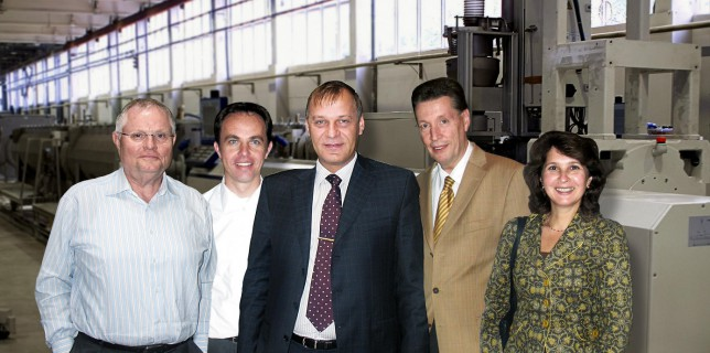 From left to right: Mr Klaus-Peter Schumacher, Managing Director of Siegfried Schumacher GmbH Mr Sellmann, Project Leader of battenfeld-cincinnati Germany GmbH, Mr. Alexee, Owner and General Manager of Tehstroi, Mr Anders of Siegfried Schumacher GmbH Ms Katja Maiskaja, Moscow office of Siegfried Schumacher GmbH