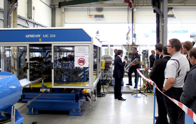 The UC 210 being prepared for its production presentation in front of a specialist audience. (photo: UNICOR)
